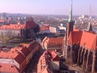 Widok na Piasek z wieży katedry na Wyspę Piasek