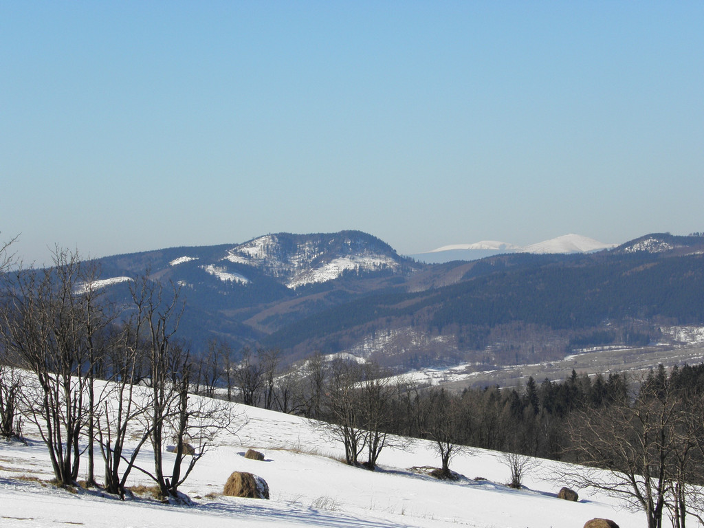 Waligóra i Śnieżka - widok z grzbietu nad Sierpnicą