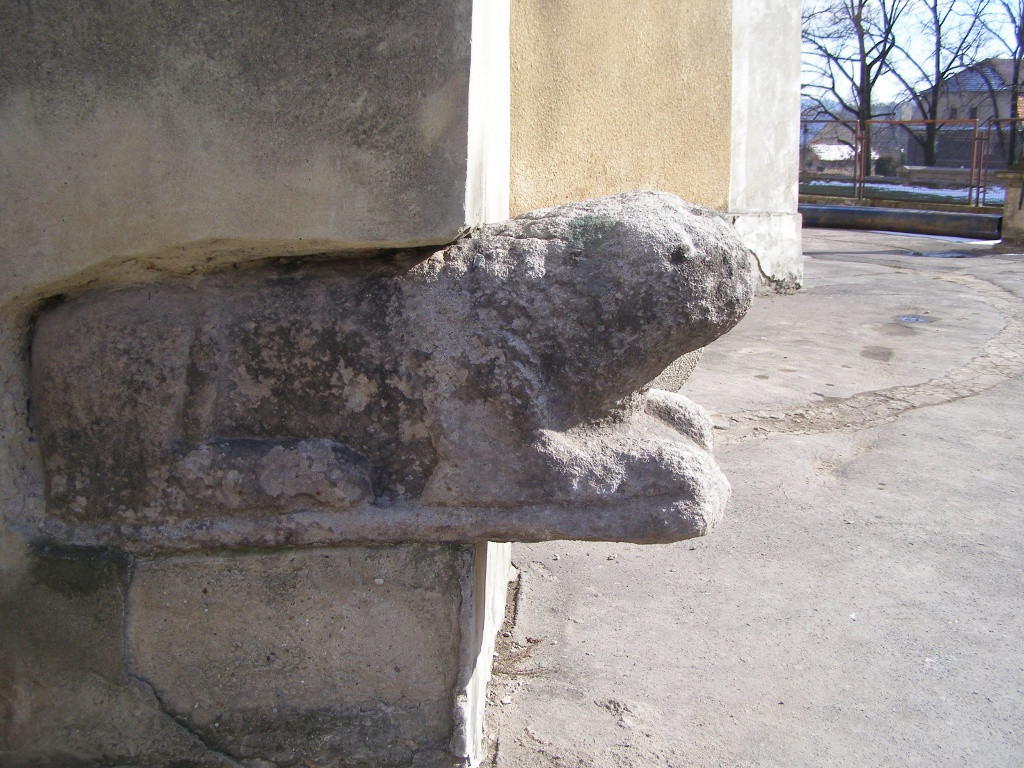 Romanesque lion in the wall of St. James church