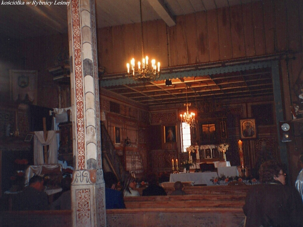 Inside wooden church in Rybnica Lesna